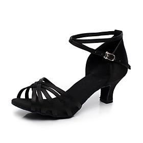 Women's Latin Shoes Sandal Flared Heel Satin Almond / Black / Blue / Ballroom Shoes / Leather / EU39