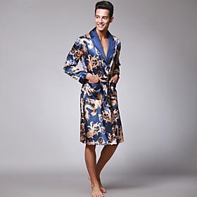 Men's Bow / Lace up / Print Satin  Silk Nightwear Solid Colored Wine Camel Royal Blue XL XXL XXXL / V Neck / Summer