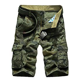Men's Hiking Shorts Hiking Cargo Shorts Camo Outdoor Comfortable Multi-Pocket Cotton Pants / Trousers Fishing Camping / Hiking / Caving Traveling Army Green Kh