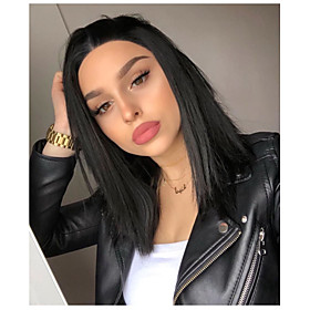 Synthetic Lace Front Wig Straight Kardashian Straight Bob Middle Part Lace Front Wig Short Dark Brown Natural Black Synthetic Hair 10-12 inch Women's Natural H