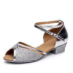 Women's Dance Shoes Latin Shoes / Ballroom Shoes / Line Dance Heel Low Heel Customizable Fuchsia / Blue / Gold / Leather / Practice / EU40