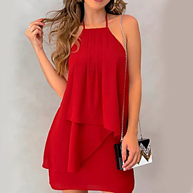 Women's A Line Dress - Sleeveless Solid Colored Ruffle Chiffon Fashion Spring Summer Halter Neck Basic Black Red Green S M L XL