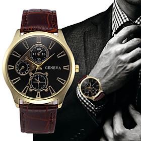 Men's Dress Watch Aviation Watch Quartz Fashion Fake Three Eyes Six Needles Analog Black / White GoldenBlack White / One Year / Leather