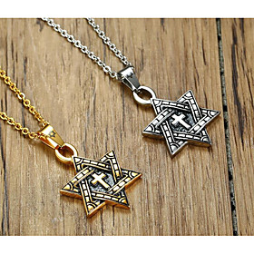 Men's Pendant Necklace Classic Star Pentagram Fashion Titanium Steel Gold Silver 60 cm Necklace Jewelry 1pc For Gift Daily