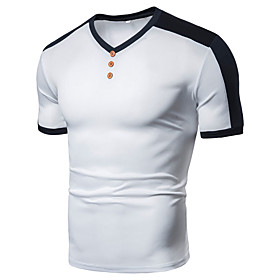 Men's Athleisure T-shirt Color Block Solid Colored Patchwork Short Sleeve Tops Basic V Neck White Black Wine / Sports / Gym