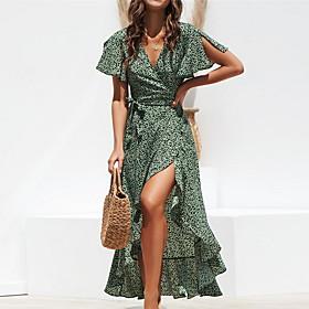 Women's Asymmetrical Sheath Dress - Short Sleeve Polka Dot Print Deep V Basic Slim Black Green S M L XL XXL