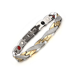 Men's Chain Bracelet Two tone Twisted Cross Personalized Fashion equilibrio Stainless Steel Bracelet Jewelry Gold / Silver / Black / Gold For Party Daily Casua