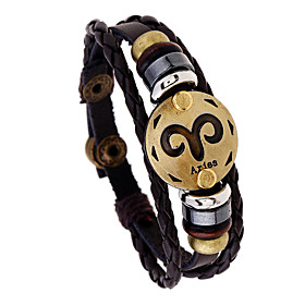 Men's Bracelet Braided Aries Punk Leather Bracelet Jewelry Brown For Gift Daily Festival