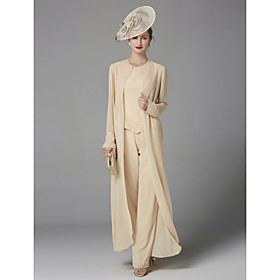 Pantsuit / Jumpsuit Mother of the Bride Dress Elegant Plus Size Bateau Neck Floor Length Chiffon Sleeveless with Beading Appliques 2020 Mot