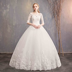 Ball Gown Wedding Dresses Bateau Neck Maxi Lace Tulle Half Sleeve Glamorous Illusion Sleeve with Lace 2020