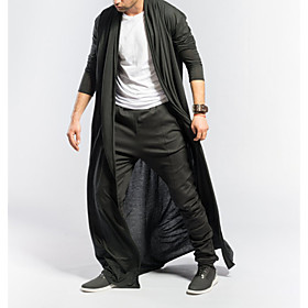 Men's V Neck Trench Coat Long Solid Colored Daily Basic Short Sleeve Black Gray M L XL