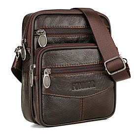 Men's Bags Cowhide Crossbody Bag Zipper Solid Color for Daily Coffee