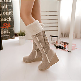 Women's Boots Fall  Winter Wedge Heel Daily Faux Leather Black / Brown / Beige