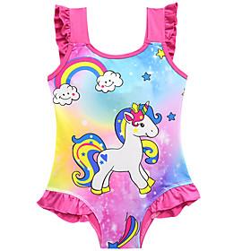 Kids Toddler Girls' Basic Cute Unicorn Galaxy Rainbow Ruffle Sleeveless Swimwear Blushing Pink