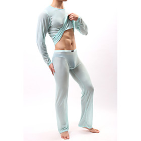 All Mesh Super Sexy Suits Nightwear Solid Colored Light Blue Khaki Royal Blue L XL XXL / Round Neck