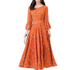 Women's Maxi Swing Dress - Half Sleeve Floral Print Black Red Yellow M L XL XXL XXXL