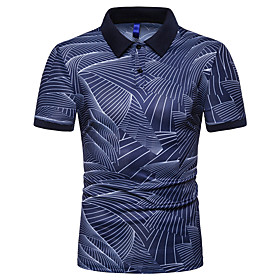 Men's Casual Polo Graphic Short Sleeve Slim Tops Cotton Shirt Collar White Black Navy Blue