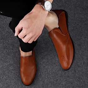 Men's Loafers  Slip-Ons Classic / Casual / British Daily Party  Evening Walking Shoes Cowhide Breathable Non-slipping Wear Proof Dark Brown / Black / Brown Sum