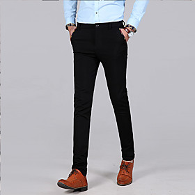 Men's Basic Dress Pants Chinos Pants Solid Colored Black Navy Blue 30 31 32