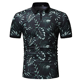 Men's Patchwork Print Polo - Cotton Shirt Collar Purple / Green