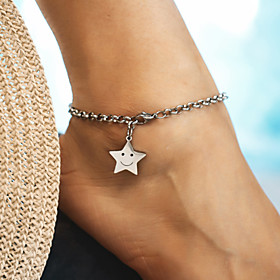 Ankle Bracelet feet jewelry Trendy Casual / Sporty Fashion Women's Body Jewelry For Daily Carnival Alloy Star Laugh Silver 1pc