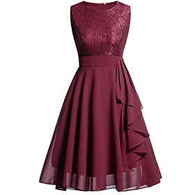 A-Line Hot Red Holiday Homecoming Dress Jewel Neck Sleeveless Knee Length Chiffon Lace with Draping Lace Insert 2020