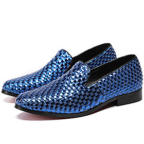 Men's Loafers  Slip-Ons Business / Casual / British Daily Party  Evening Cowhide Handmade Non-slipping Wear Proof Navy Blue Fall / Winter