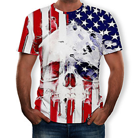 Men's 3D Graphic Print T-shirt Round Neck White / Skull