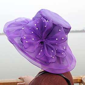 Women's Kentucky Derby Party Polyester Sun Hat-Solid Colored Purple Yellow Light Brown