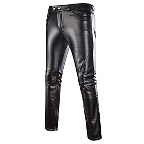 Men's Basic Streetwear Punk  Gothic Party Going out Club Chinos Pants Solid Colored Black Gold Silver M L XL / Weekend