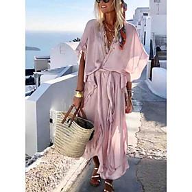 Women's Dusty Rose Swing Dress - Half Sleeve Solid Colored Ruffle Lace up Fashion Spring Summer Deep V Basic 2020 Yellow Blushing Pink S M L XL XXL XXXL