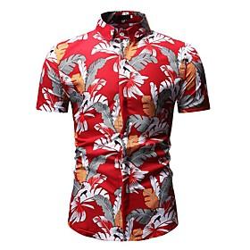Men's Floral Polo Shirt Collar Black / Red