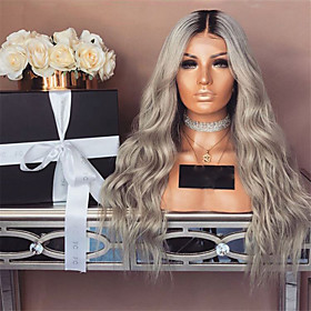 Synthetic Wig Deep Wave Middle Part Wig Long Grey Synthetic Hair 28 inch Women's Color Gradient Gray