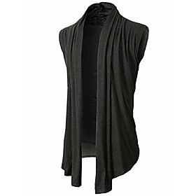 Men's Solid Colored Cardigan Sleeveless Sweater Cardigans Stand Collar Black Army Green Light gray