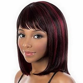 Synthetic Wig Bangs kinky Straight Bob Wig Burgundy Medium Length Black / Burgundy Synthetic Hair 14 inch Women's Fashionable Design Smooth Classic Burgundy