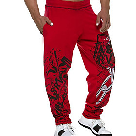 Men's Active wfh Sweatpants Pants - Solid Colored Black Red M L XL