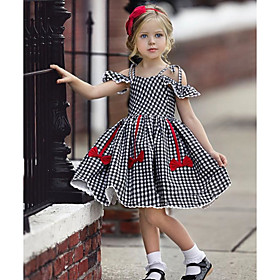 Kids Girls' Active Cute Houndstooth Jacquard Backless Bow Pleated Short Sleeve Knee-length Dress Black / Lace up