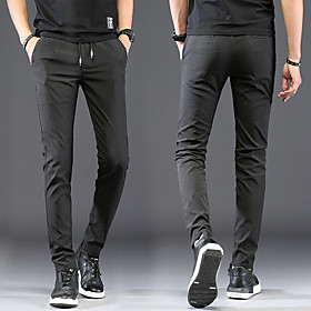 Men's Basic Chinos Pants Solid Colored Classic Black Blue Gray 30 31 32