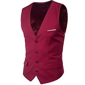Men's V Neck Vest Plus Size Black / Blue / Purple M / L / XL / Slim