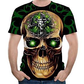 Men's 3D Graphic Print T-shirt Round Neck Black / Skull