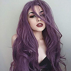 Synthetic Lace Front Wig Wavy Body Wave Side Part Lace Front Wig Short Lavender Synthetic Hair 24 inch Women's Synthetic Easy dressing New Arrival Purple