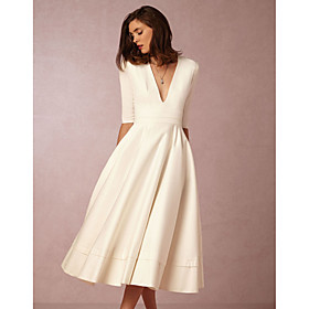 A-Line Minimalist White Holiday Cocktail Party Dress V Neck Half Sleeve Tea Length Jersey with Pleats 2020