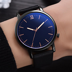 Men's Dress Watch Quartz Leather Black / Blue / Brown 30 m Water Resistant / Waterproof Creative Casual Watch Analog Fashion Minimalist - Black Brown Blue One