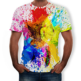 Love wins Men's Plus Size Color Block 3D Print T-shirt Street chic Exaggerated Daily Holiday Round Neck Rainbow / Short Sleeve