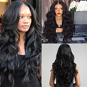 Synthetic Wig Body Wave Deep Wave Bob Asymmetrical Middle Part Wig Long Natural Black Synthetic Hair 26 inch Women's Synthetic Natural Hairline Middle Part Bla