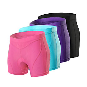 Arsuxeo Women's Cycling Under Shorts Cycling Padded Shorts Bike Underwear Shorts Padded Shorts / Chamois Bottoms Sports Spandex Purple / Fu