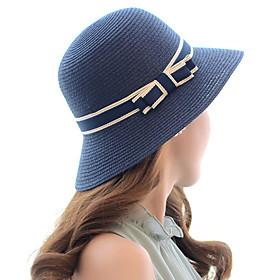 Women's Active Basic Cute Straw Straw Hat Sun Hat-Color Block Spring Summer Beige Navy Blue Khaki