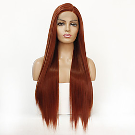 Synthetic Lace Front Wig Straight Straight Lace Front Wig Long Orange Synthetic Hair Women's Natural Hairline Orange