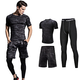Men's Activewear Set Workout Outfits Compression Suit 3pcs Winter Running Basketball Fitness UV Resistant Quick Dry Soft Sportswear Plus Size Running Shorts wi