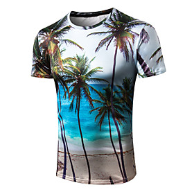 Men's 3D Graphic Print T-shirt Street chic Exaggerated Casual Street Round Neck Rainbow / Short Sleeve